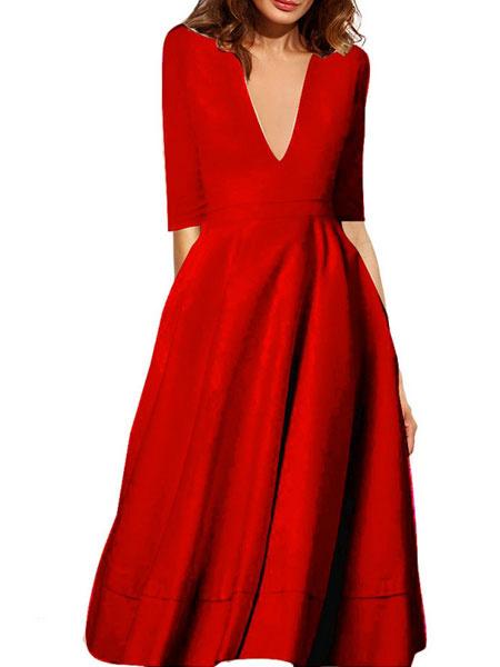 Milanoo Vestido plisado de poliester con cuello profundo con manga corta Color liso con pliegues estilo moderno