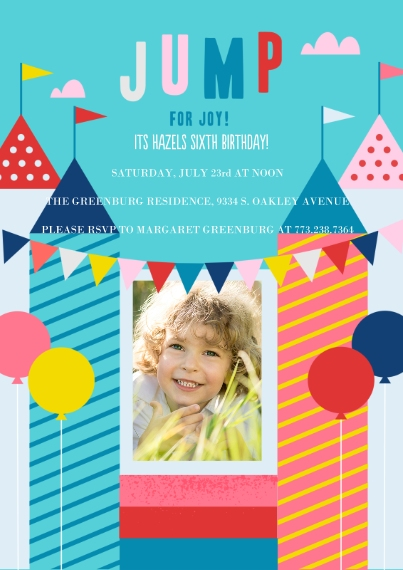 Kids Birthday Party Invites Flat Glossy Photo Paper Cards with Envelopes, 5x7, Card & Stationery -Jump For Joy Invite