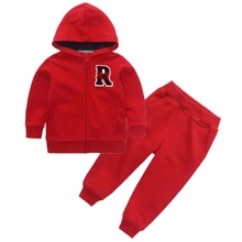 Toddler Boys Letter Patched Hooded Sweatshirt & Sweatpants