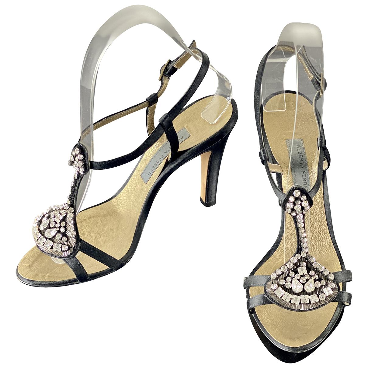 Alberta Ferretti N Black Cloth Sandals for Women 37 IT