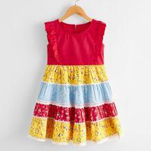 Toddler Girls Ditsy Floral Print Ruffle Trim Dress