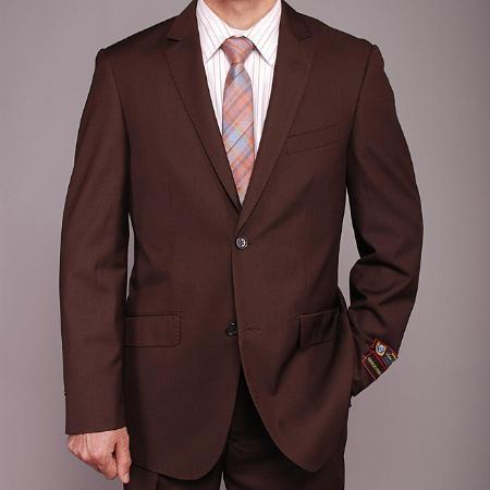 Mens Brown 2button Slimfit Suit