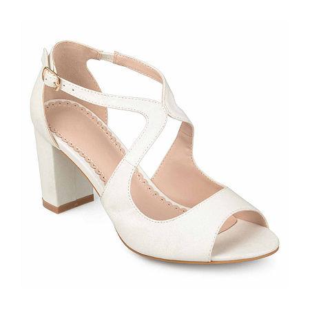 Journee Collection Womens Aalie Pumps Block Heel, 9 Medium, White