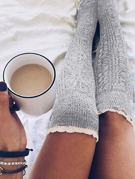 Yoins Lace Trim High-tube Stocking Socks