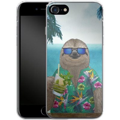 Apple iPhone 7 Silikon Handyhuelle - Summer Sloth Drinking Mojito von Barruf