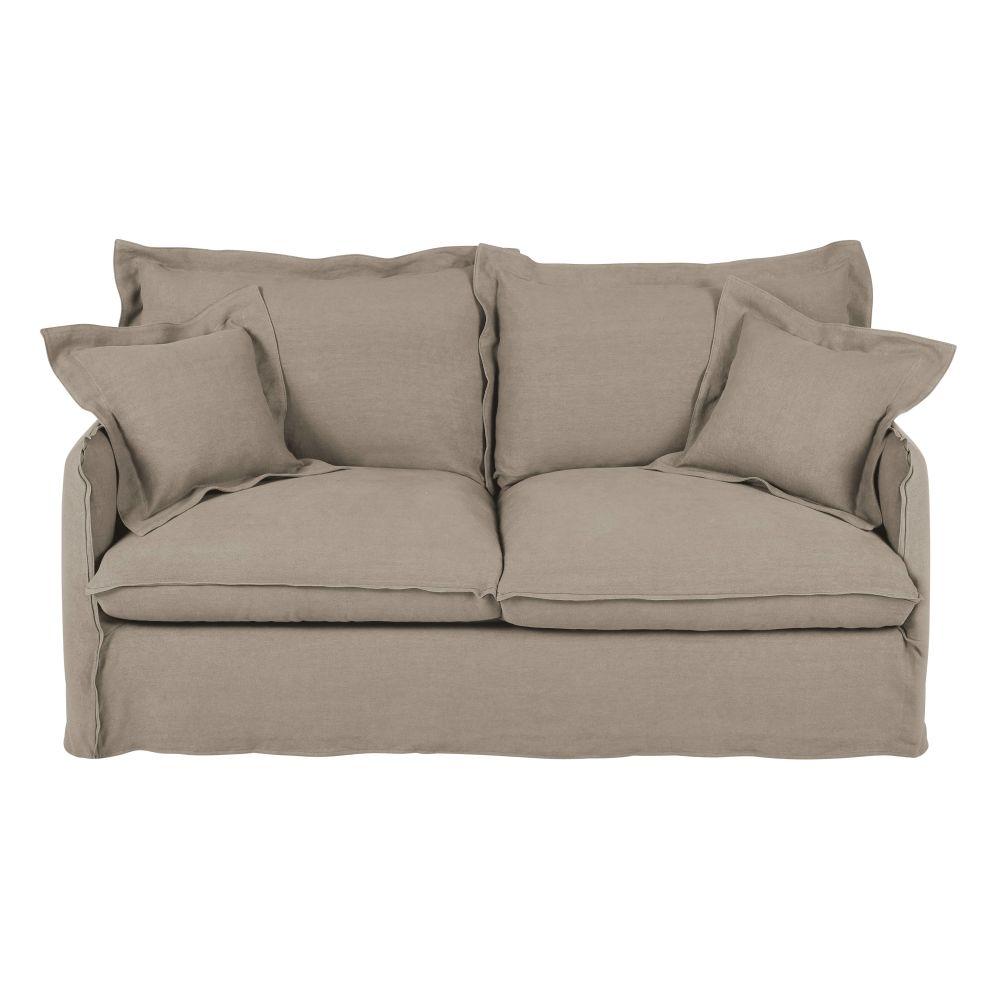 3-Sitzer-Schlafsofa mit dickem hellbeigem Leinenbezug und Matratze 14 cm Barcelone
