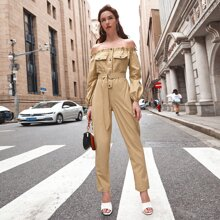 Frill Button Belted Bardot Jumpsuit