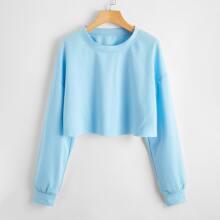 Solid Crop Sweatshirt