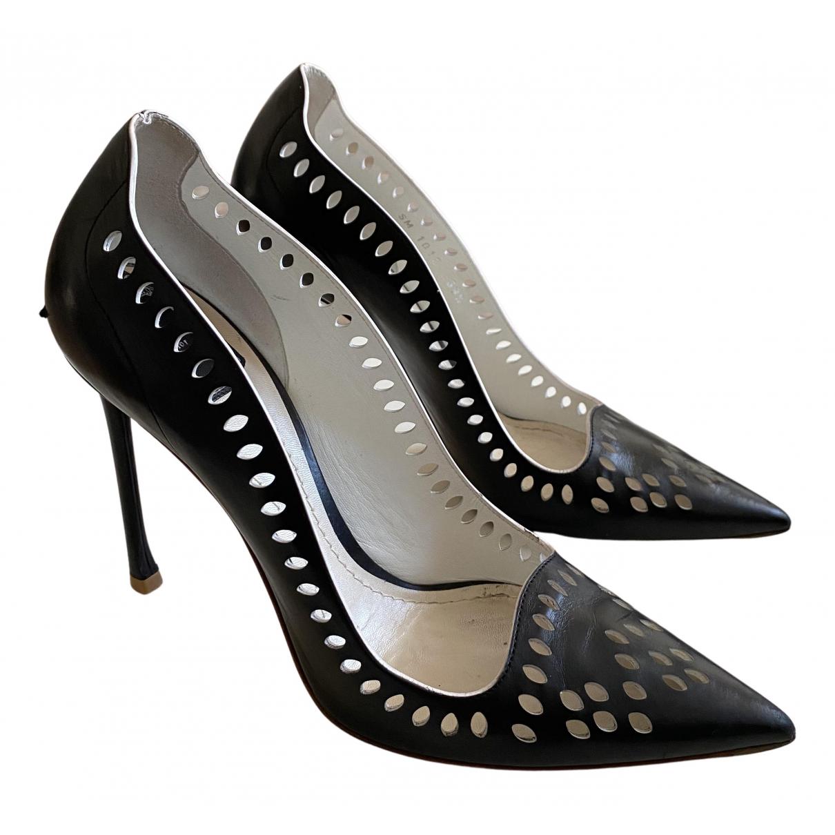 Dior N Black Leather Heels for Women 39.5 EU