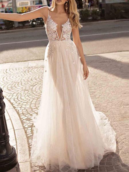 Milanoo Vestido de novia Boho 2020 A Line Correas de cuello en V Sin mangas Tulle Beach Vestidos de novia