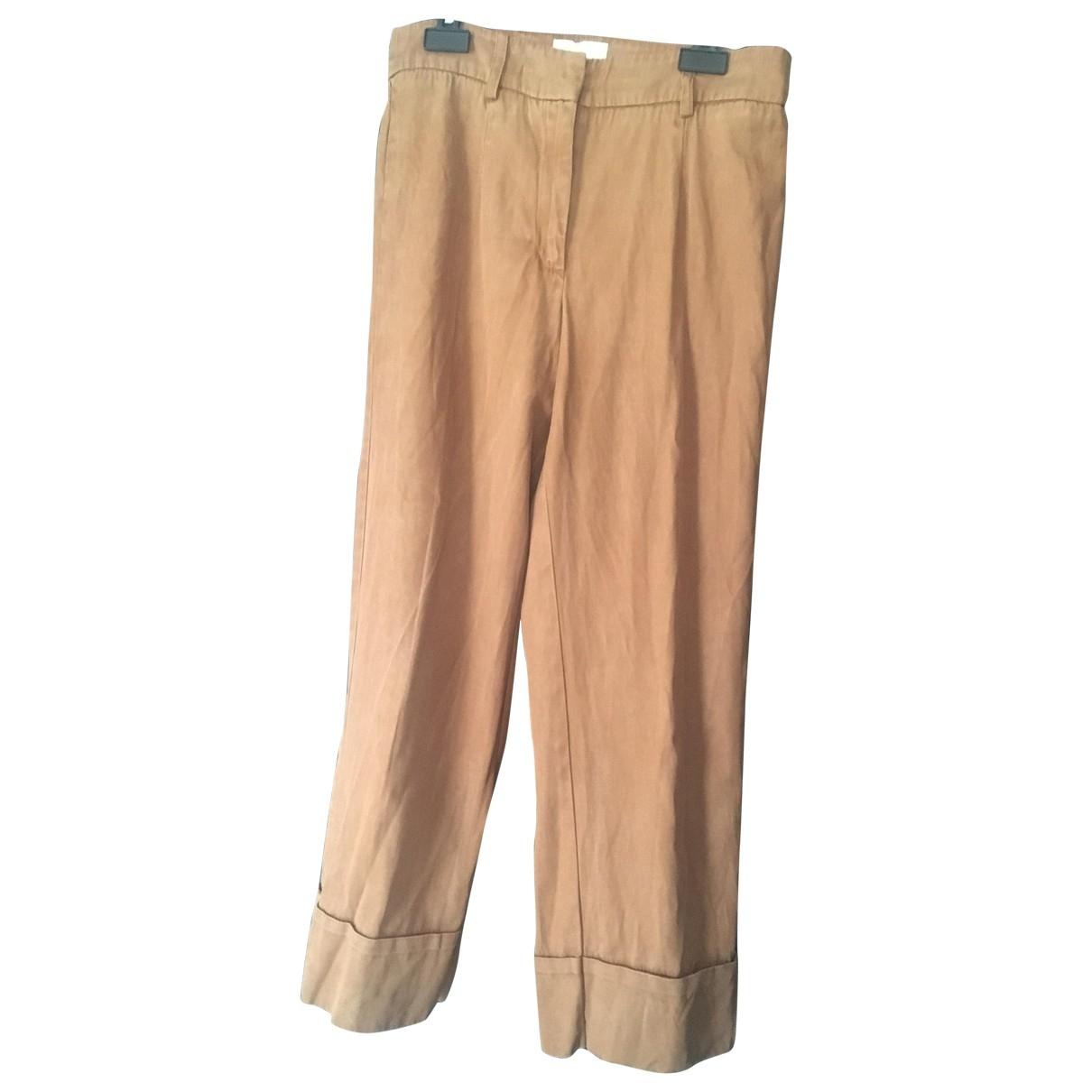 Sézane \N Camel Cotton Trousers for Women 34 FR