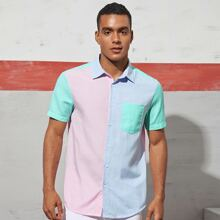 Camisa de color combinado con bolsillo