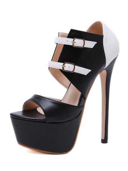 Milanoo Platform Peep Toe Sexy Sandals High Heel 6.7 Stiletto Heel Shoes With Buckles