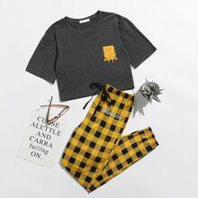 ROMWE X SpongeBob Crop Tee & Plaid Pants PJ Set