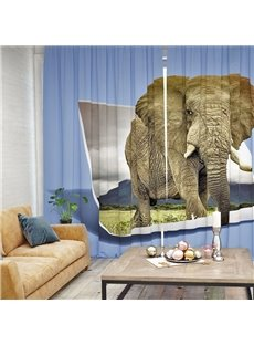 Vivid Elephant Pattern 3D Printed Polyester Curtain