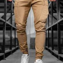 Men Flap Pockets Drawstring Waist Cargo Pants