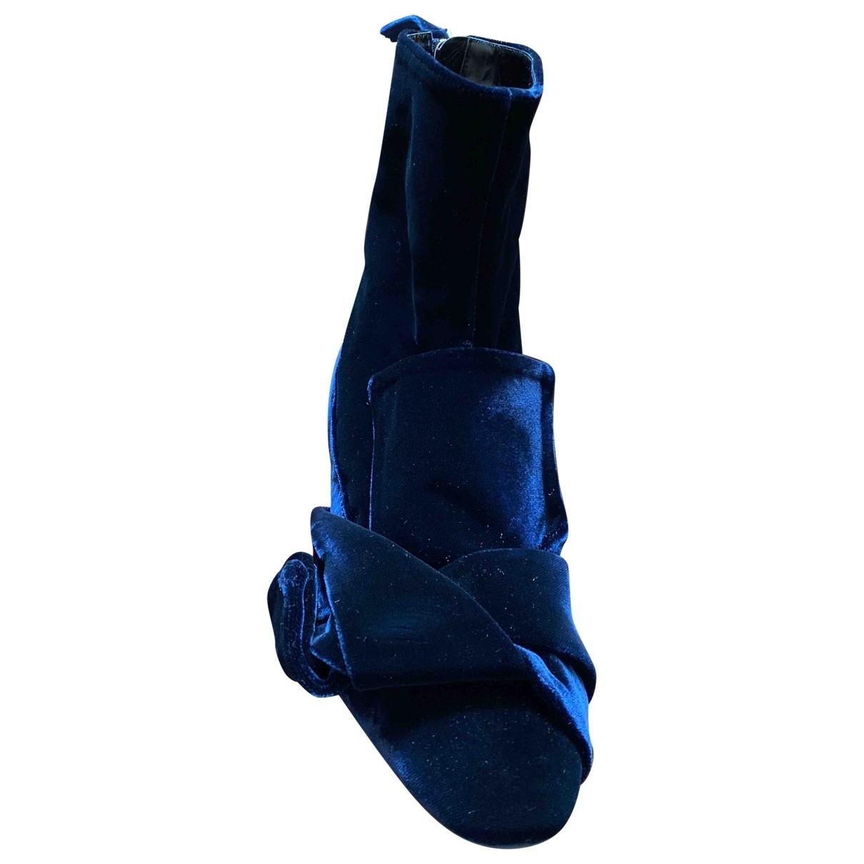 N°21 - Boots   pour femme en velours - bleu