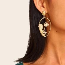 Face Design Hollow Drop Earrings 1pair