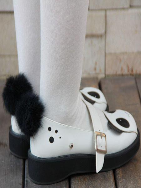 Milanoo Sweet Lolita Shoes Black White Panda Mary Jane Lolita Platform Shoes With Black Furry Ball