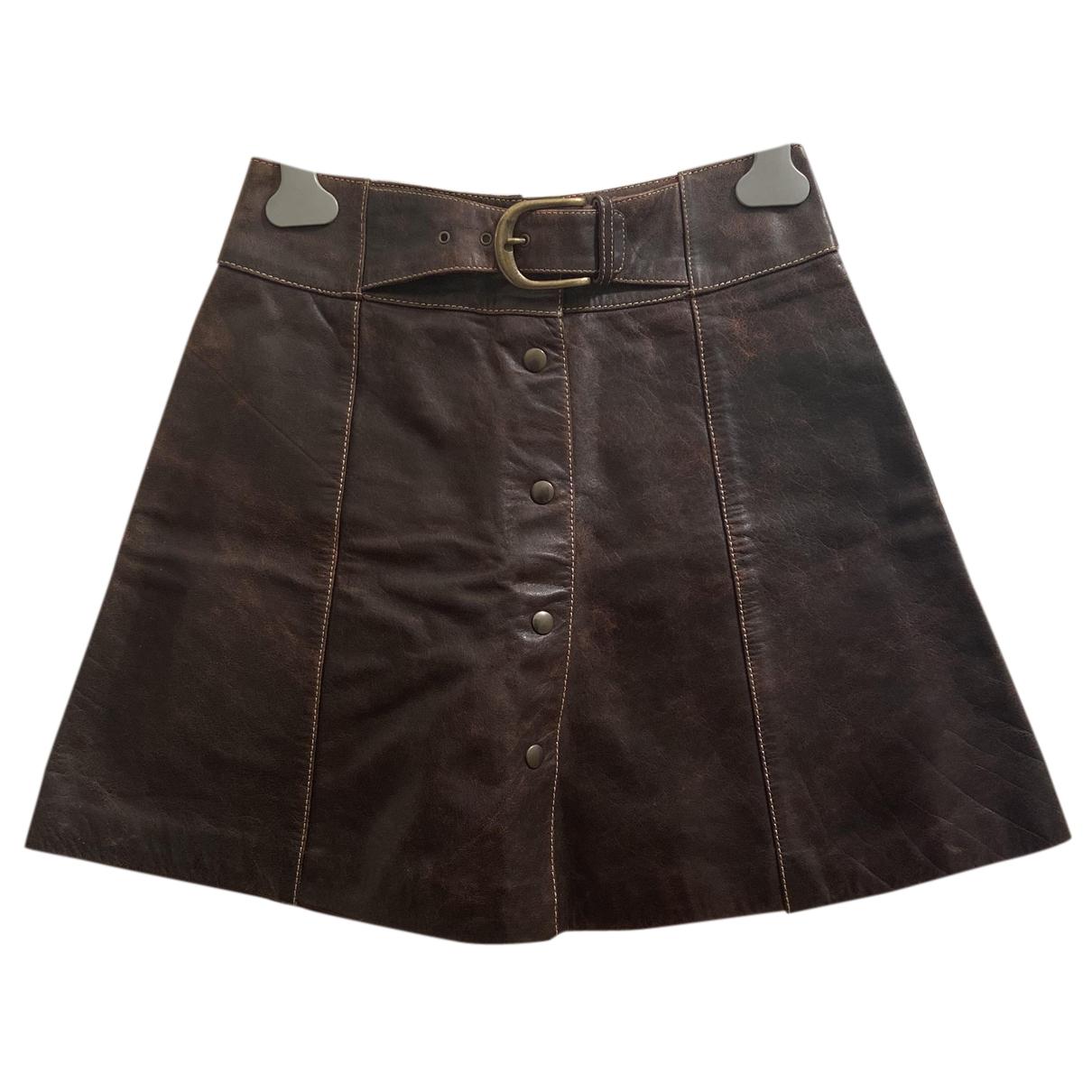 Byblos - Jupe   pour femme en cuir - marron