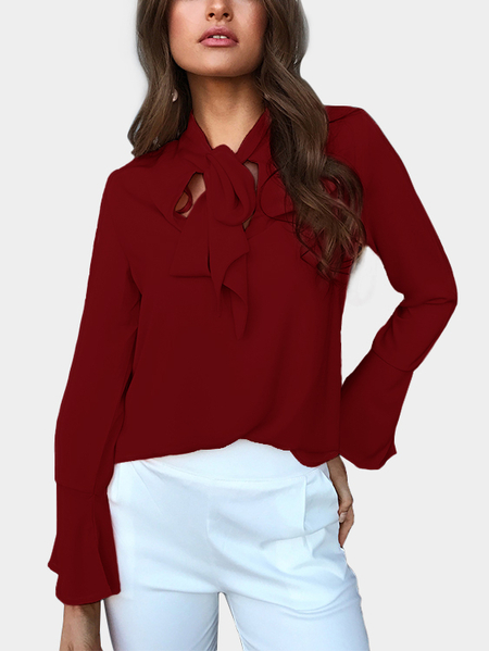Yoins Burgundy Self-tie Design Bell Sleeves Chiffon Blouse