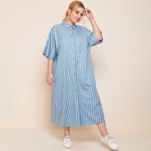 Plus Button Front Batwing Sleeve Striped Dress