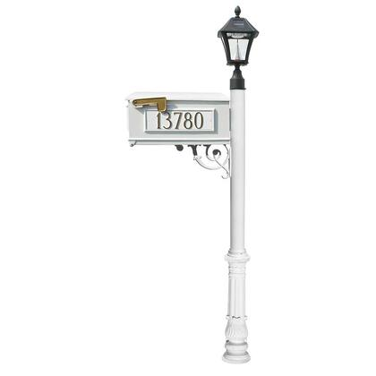 LMC-700-SL-WHT Lewiston Mailbox post system with Bayview Solar Lamp  3 cast aluminum personalized address plates and decorative ornate