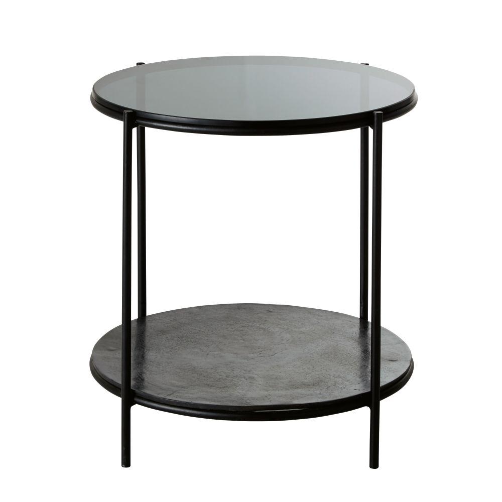 Runder Beistelltisch aus Metall und Glas, schwarz