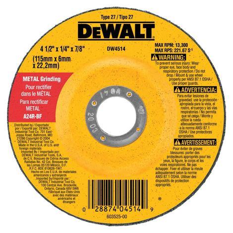 DeWalt 7 in. x 1/4 in. HP Metal Grinding