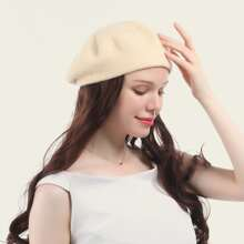 Natural Long Curly Wig With Beret