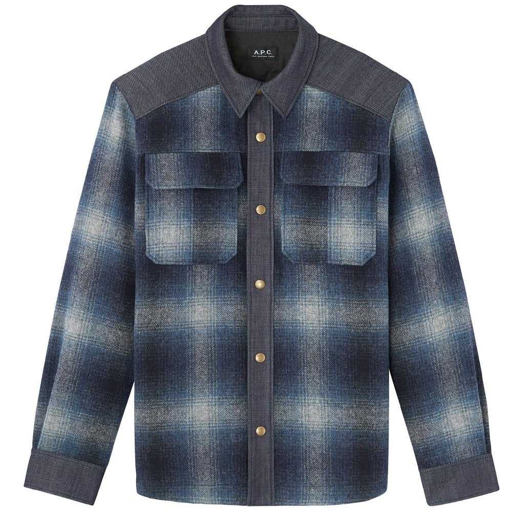 A.P.C Checkered Wool Mark Jacket Colour: BLUE, Size: LARGE