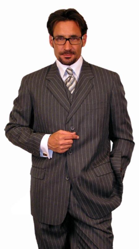 Mens 3 Piece Suit Charcoal Gray Chalk Bold Pinstripe 3 Button Vest