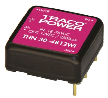 TRACOPOWER THN 30WI 30W Isolated DC-DC Converter Through Hole, Voltage in 18 → 75 V dc, Voltage out ±12V dc