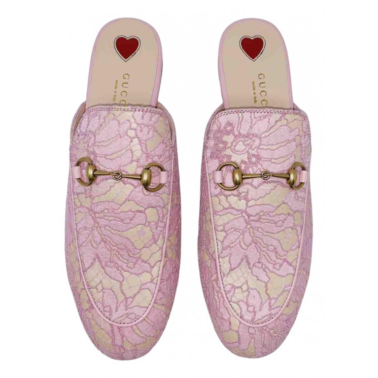 Gucci - Mocassins Princetown pour femme en toile - rose