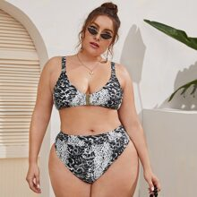 Plus Crocodile Print Top mit hoch tailliertem Bikini