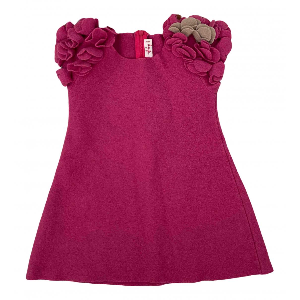 Il Gufo - Robe    pour enfant en laine - rose