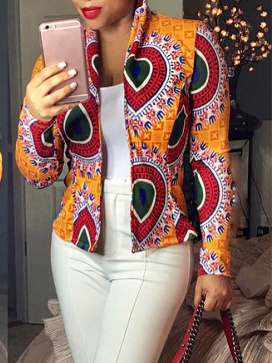 LW Lovely Ethnic Print Orange Blazer