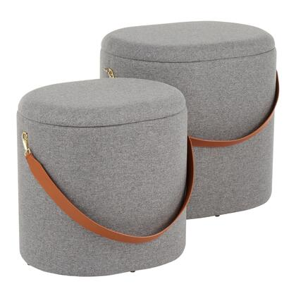 OT-OTTO GY Nesting Oval Strap Contemporary Ottoman in Grey Fabric with Brown Faux Leather