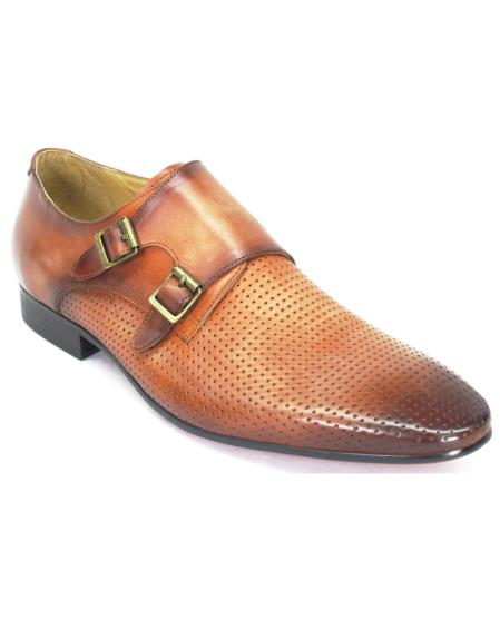 Men's Calfskin Leather Coral Perforation Double Monk Strap Shoes