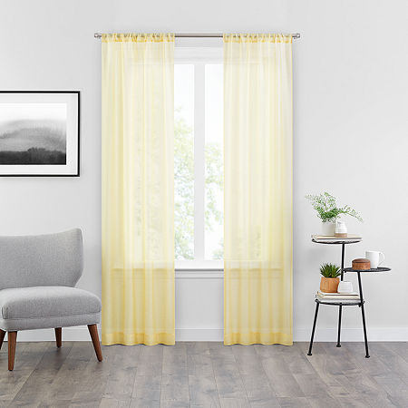 Vue Snow Sheer Rod-Pocket Set of 2 Curtain Panel, One Size , Yellow