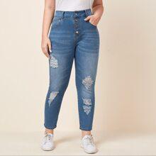 Jeans mit Knopfen und Riss