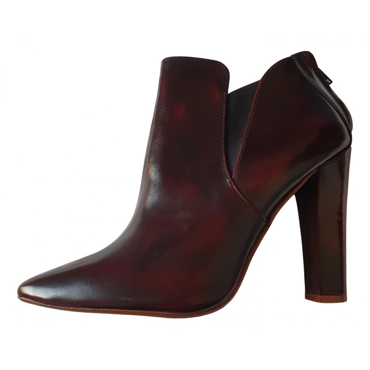 Zara \N Stiefel in  Bordeauxrot Leder