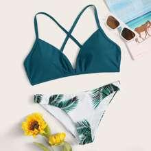 Bikini mit Kreuzgurt und zufaelligem Palme Muster