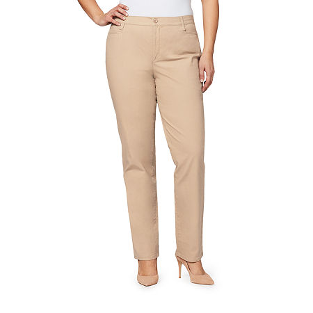 Gloria Vanderbilt Amanda Straight Fit Trouser, 20w , Beige