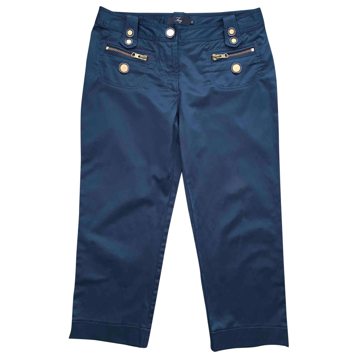 Fay \N Blue Cotton Trousers for Women 42 IT