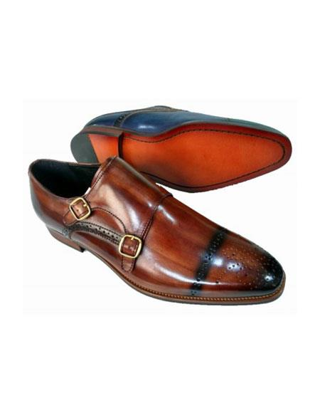 Mens Slip On Zota - Double Buckle Brown Shoe