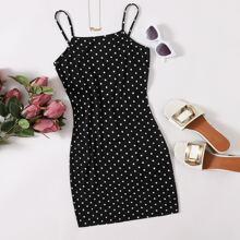 Figurbetontes Kleid mit Punkten Muster