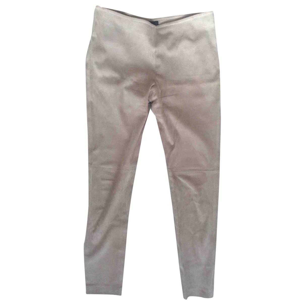 Fabiana Filippi \N Beige Suede Trousers for Women 44 IT