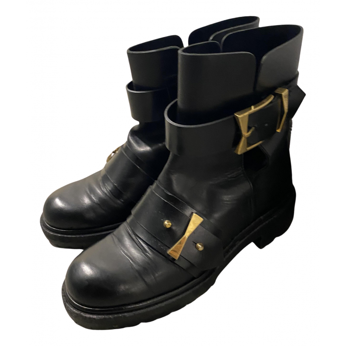Alexander Mcqueen N Black Leather Ankle boots for Women 36 EU