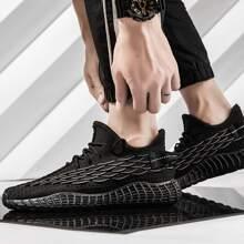 Maenner Sneakers mit Band vorn und Fischschuppen Design